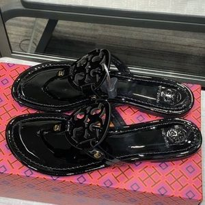 Tory Burch Black Patent Leather Sandals size 8